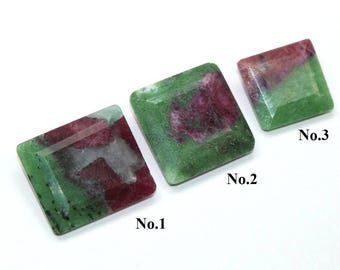 AAA Natural Rubyzoisite Square Cut Stone / Rubyzoisite Faceted Loose Gemstones /Ruby in Zoisite /Anyolite/You Pick