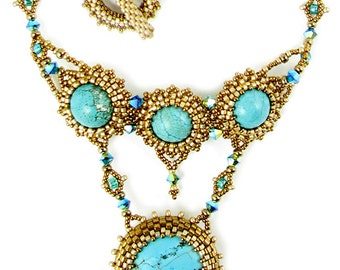 Neptune Beaded Cabochon Necklace Kit By Ann Benson