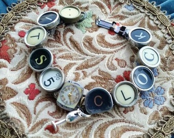 It's 5 O'Clock Bracelet, Antique Typewriter Key Jewelry, Happy Hour, Wine Glass, Upcycled Jewelry, Steampunk Bracelet, Vingage Ladies Watch