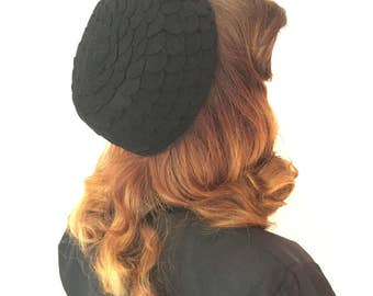 1950s petal black pillbox hat/50s hat