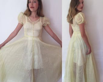 AS IS Xs 1930s pale yellow puff sleeve sheer gown