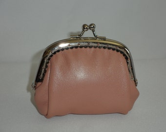 Small Leather Coin Purse, Snap Purse, Peach Color