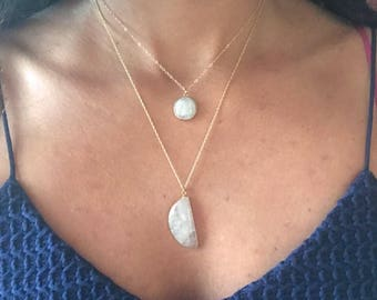 Moonstone Necklace // Moonstone Gold Necklace // Moon Necklace // Full Moon Necklace // Half Moon Necklace