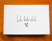 Language of Love Card - German Valentine's Day Card, handmade, calligraphy