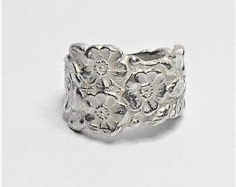 Sterling Silver Ring, Womans Sterling Silver Ring, Silver Ring, Silver Fashion Ring, Sterling Silver Flower Ring