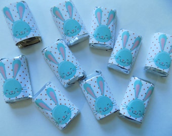 Easter party favors etsy blue easter bunny miniature candy bars with hersheys miniatures pack of 20 kids easter negle Images