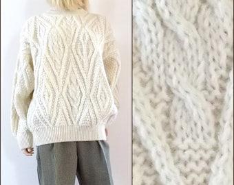 Womens cream oversized aran sweater wool cable fishermans sweater medium/large