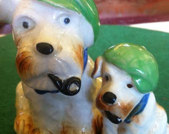 """Father and Son Pipe Smoking """"Newsboy"""" Terriers Made in Occupied Japan"""