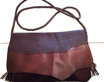 Raw edge leather purse! Unique bag. Handmade leather bag. Brown leather bag