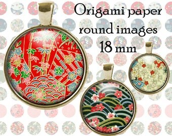 Origami paper 18mm bottle cap pendant images chiyogami pendant digital collage sheet for jewelry making, scrapbooking, cake toppers Japanese