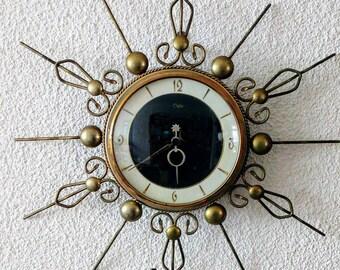 Vintage 50s Orfac sunburst wall clock