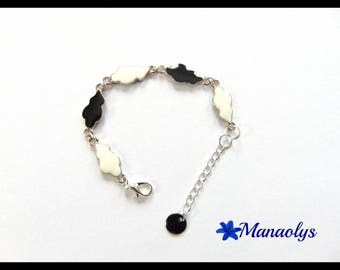 Bracelet black and white clouds enameled and silver