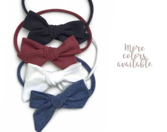 Baby bow clips - baby bow headbands - toddler bow clips - toddler headbands - little girl clips - toddler girl clips - chambray bow