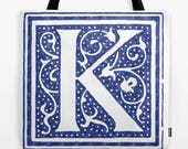 Personalized Monogramed Tote bag Initial decorative Letter market bag shopping bag reading tote beach bag canvas reusable tote ecofriendly