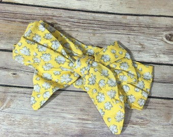 Yellow and gray floral headwrap