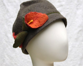 Cloche Hat in Pewter Wool W/Calla Lilies - Wool Felt Cloche - Wool Hat - Flower Cloche - Helen of Troy - Calla Lily