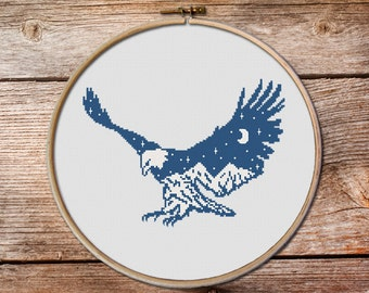 Eagle Cross Stitch pattern, Bald Eagle Cross Stitch, keeper of the night, modern cross stitch, mountains cross stitch #003