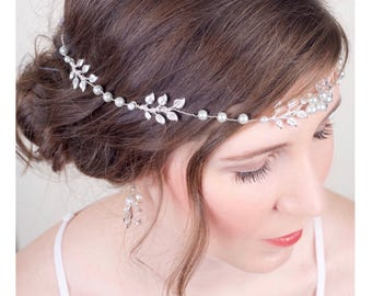 Boho Bridal Silver Hair Vine, Silver Wedding Headpiece, Pearl Crystal Vine, Bridal Hair Crown, Silver Belt Sash Crown, Headpiece 3(S)