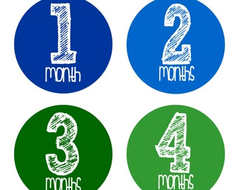 Baby Month Stickers, Monthly Baby Boy Stickers, Baby Month Milestone Stickers - Baby Boy, Baby Shower Gift, Blue, Green - FREE SHIPPING