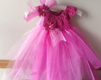 Crocheted TuTu Empire Dress 9-12 Months  Comes With Matching Headband  Beautiful first Birthday Dress or Party Dress One Of A Kind!!!!
