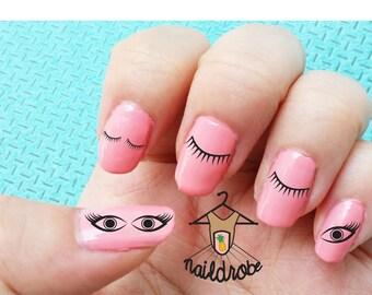 30 Eyelash Eye Nail Decals  (Waterslide Nail Decal)