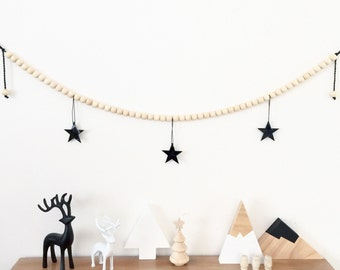 Christmas Garland Wooden Bead Xmas Stars Boho Scandi Monochrome Black Luxe