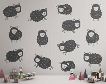 Sheep Wall Decals - Nursery Decals, Animal Decals, Cute Nursery Wall Decals, Kids Room Wall Decor