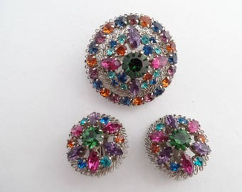 Made in Austria dome brooch and earring set multi color rhinestones AA861