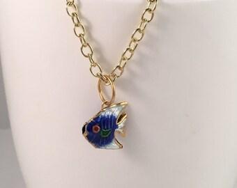 Fish necklace, fish pendant, cobalt blue fish necklace, cobalt blue fish pendant, ocean necklace, beach necklace