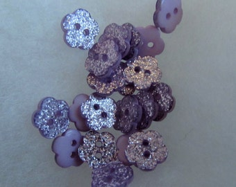 Lilac Glitter Flower Buttons
