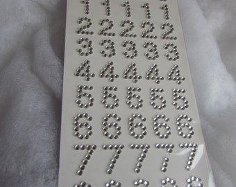 Crystal Silver Number Stickers