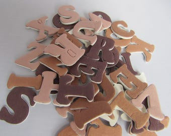 3D  Foam Alphabet Stickers  in Brown Coffee Colours 42pces