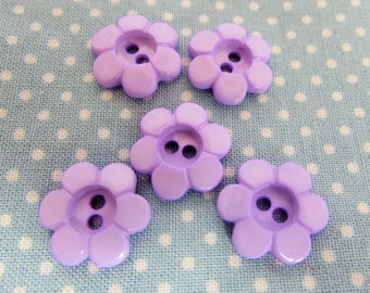 Lilac Daisy Flower Buttons
