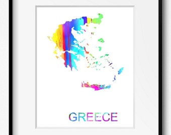 Greece Watercolor Map Art Print (525) Europe