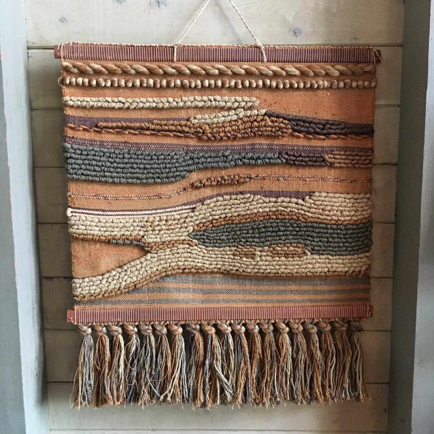 Large Vintage Woven Wool Tapestry Wall Hanging Art Retro