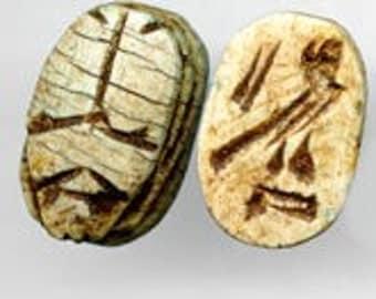 Faience scarab bead. 12x18mm. Pkg. of 1. b2-420(e)