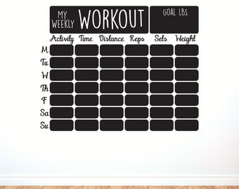 Vinyl Calendar Workout Schedule - Chalkboard  Vinyl Decal