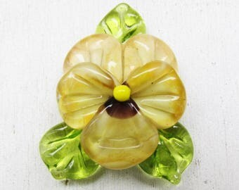 Beige lampwork pansy, glass lampwork bead by Inna Kirkevich, handmade artisan glass beads, beads for jewelry