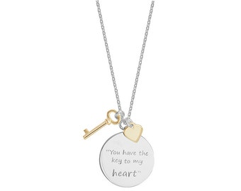Sterling Silver Key to My Heart Necklace Valentine Gift Wedding Gift