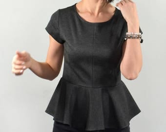 Peplum top/ short sleeve grey peplum blouse.