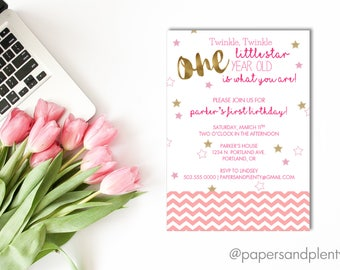 "First Birthday Invite ""Twinkle, Twinkle Little Star"" 