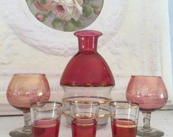 Vintage Cranberry Glass Decanter Shot Brandy