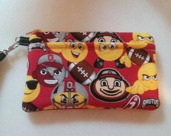 Handmade Ohio State Emoji  Print Wallet Wristlet Phone Case with strap
