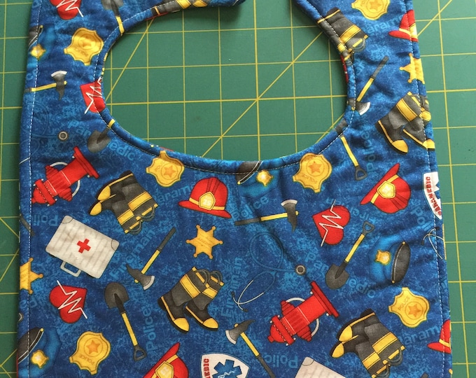 Baby Bib EMS, Fire Department, Police Officer: Toddler Size, Choice of 5 Fabric Prints