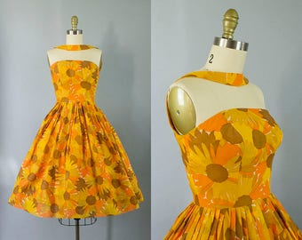 1950s floral halter dress/ 50 reverse halter sundress/ small