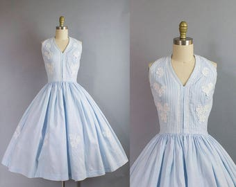 1950s Blue Cotton Halter Dress/ 50s floral applique sundress/ medium (36b/27w)