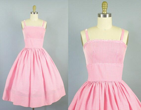 1950s gingham cotton sundress/ 50s velvet strap pink dress/ L'aiglon/ small