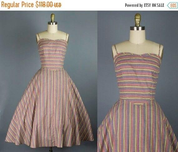 SALE 15% STOREWIDE 1950s cotton striped sundress/ 50s day dress/ medium
