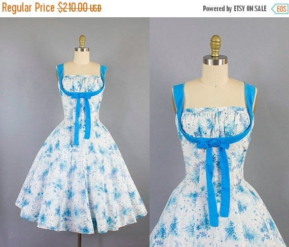 SALE 15% STOREWIDE 1950s shelf bust sundress/ 50s cole of california cotton floral dress/ SM small medium
