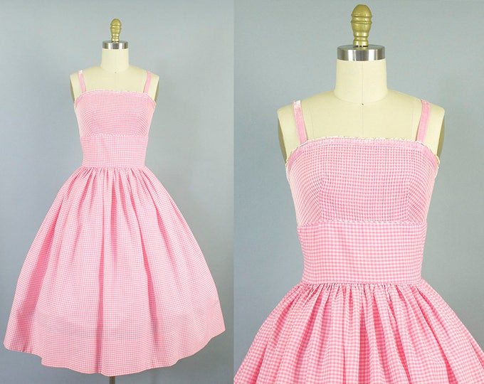 1950s gingham cotton sundress/ 50s velvet strap pink dress/ L'aiglon/ small